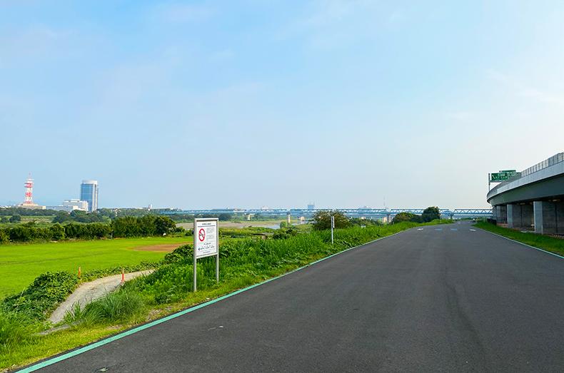 相模川のサイクリングロード。
